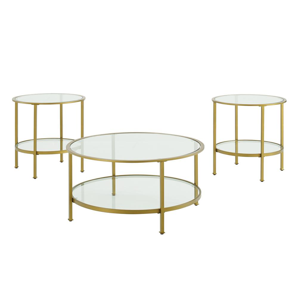 crosley furniture aimee 3 piece gold round glass coffee table set with shelf kf13020gl the home depot
