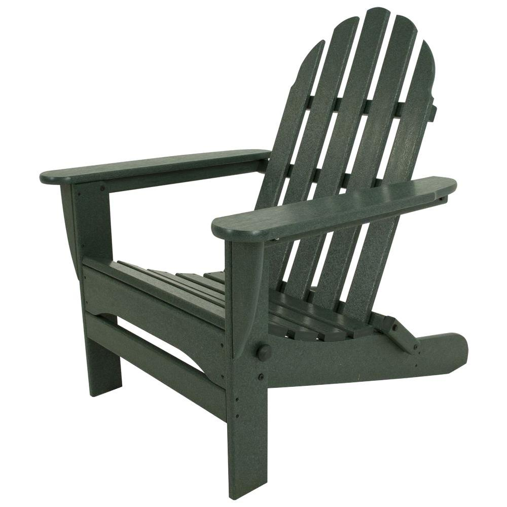 Arondyke Chairs Polywood Classic Green Plastic Patio Adirondack Chair