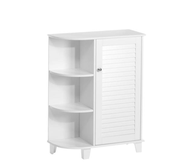 Ellsworth  In W X  In H Bathroom Linen Storage Floor Cabinet With Side Shelves In White