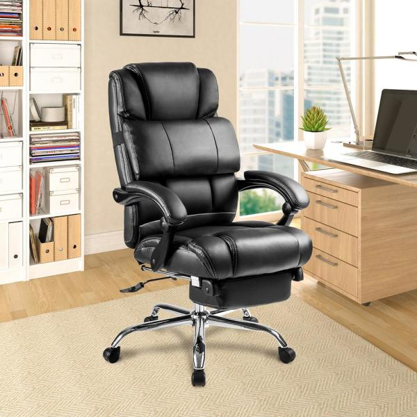 Merax Black Ergonomic Pu Leather Big And Tall Office Chair With Footrest Pp189619baa The Home Depot