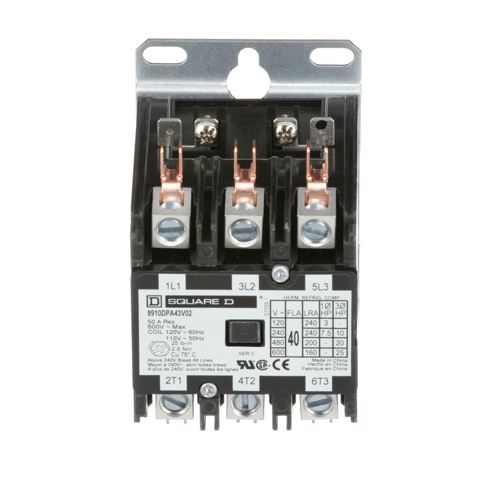hight resolution of 40 amp 120 volt ac 3 pole open definite purpose contactor 20 pack