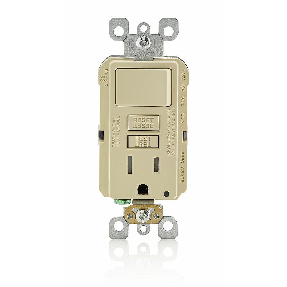 outlet switch combo wiring diagram internal brain leviton 15 amp smartlockpro combination gfci and ivory