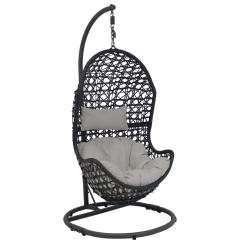 Patio Hanging Egg Chair Cover Rental Sioux City Sunnydaze Decor Cordelia Wicker Indoor Outdoor Lounge With Stand And Gray Cushions