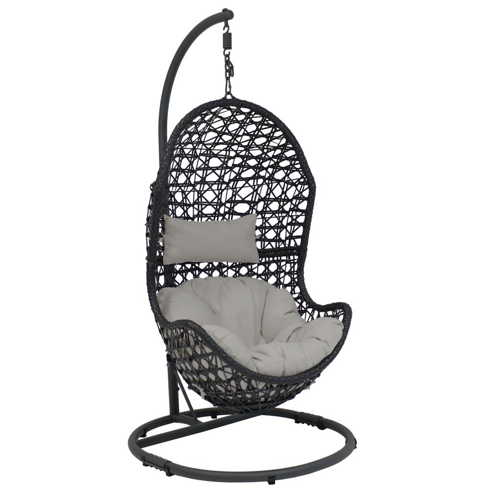 Hanging Egg Chair Outdoor Sunnydaze Decor Cordelia Wicker Indoor Outdoor Hanging Egg Patio Lounge Chair With Stand And Gray Cushions
