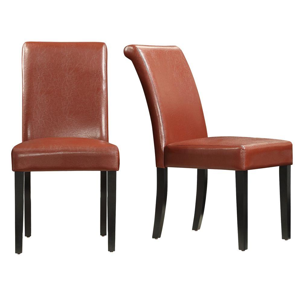 HomeSullivan Fairfield Red Faux Leather Dining Chair Set