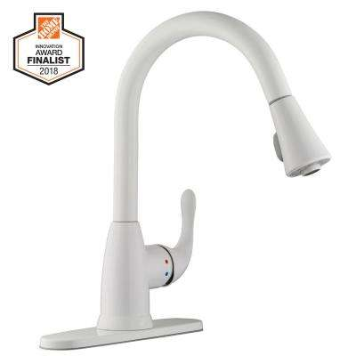 white kitchen faucet how much for cabinets faucets the home depot market single handle pull down sprayer in