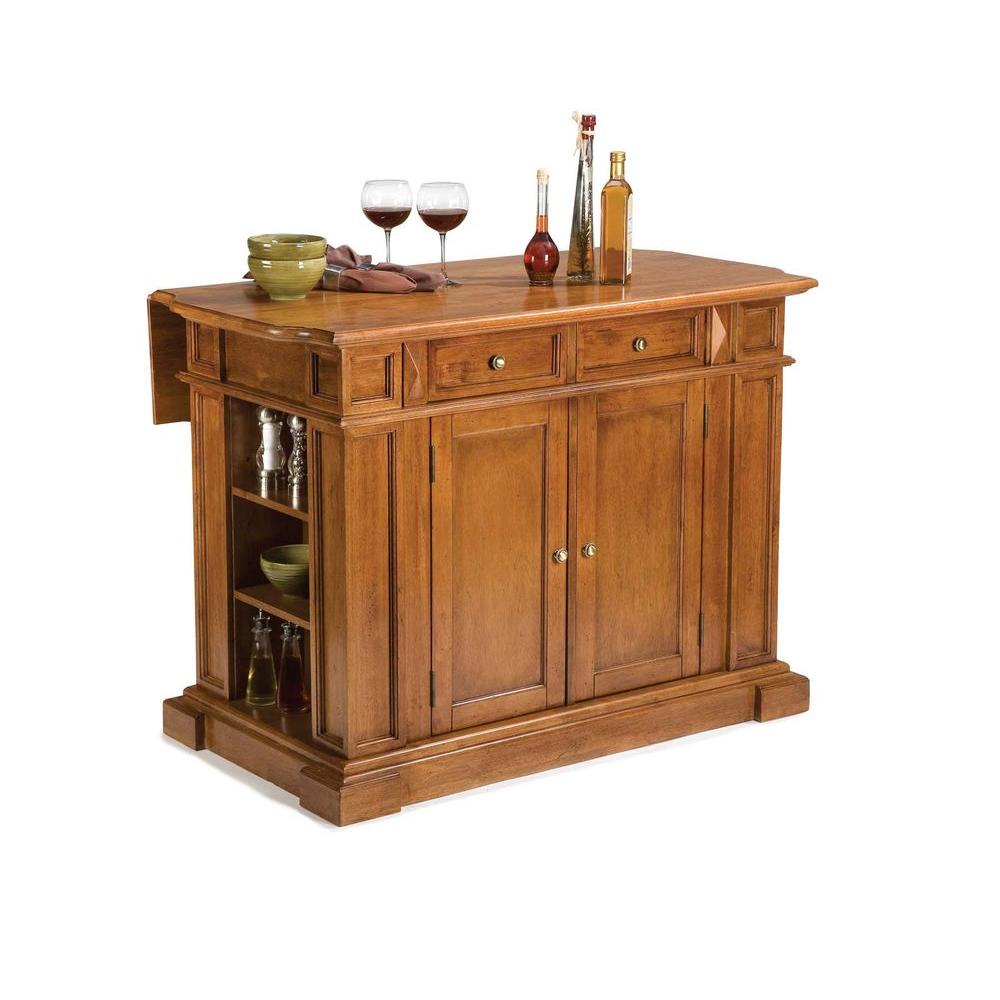 oak kitchen islands unfinished cart home styles americana distressed cottage island with drop leaf 5004 94 the depot