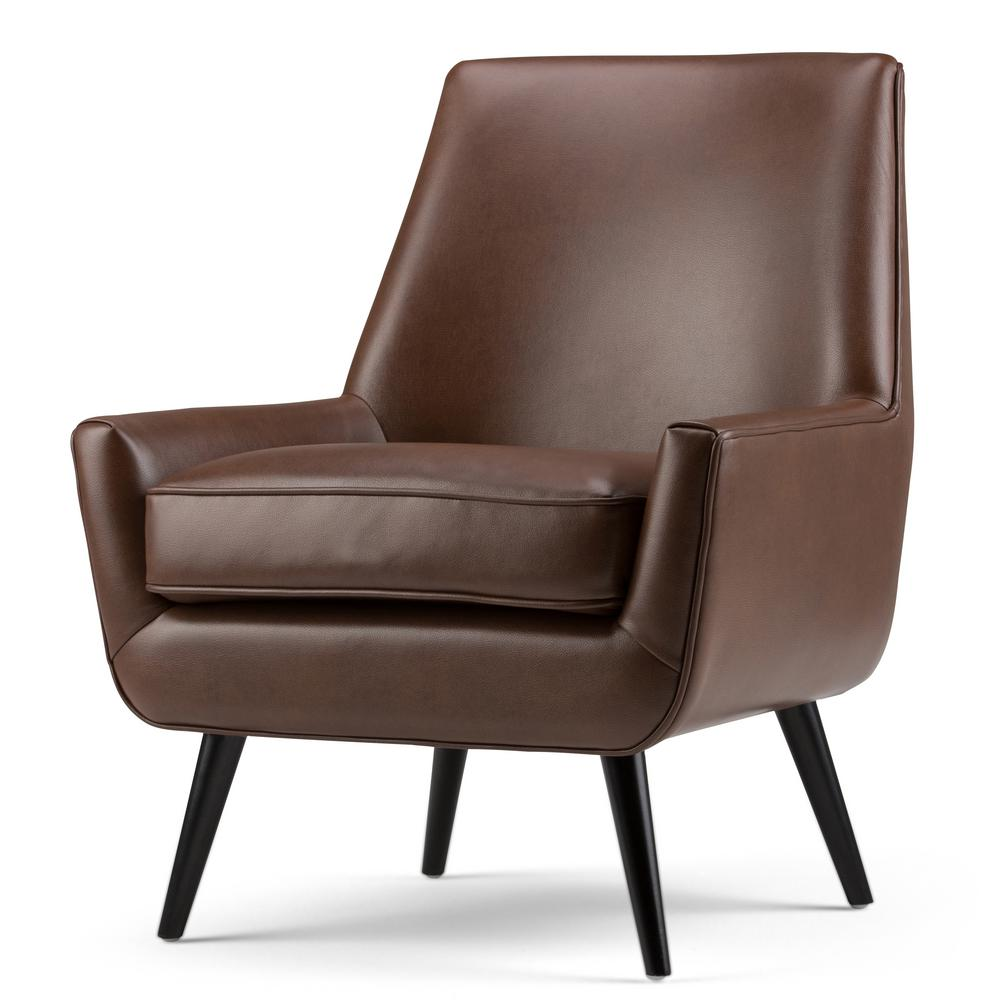 leather accent chairs 4moms high chair target simpli home warhol saddle brown air axcchr 018