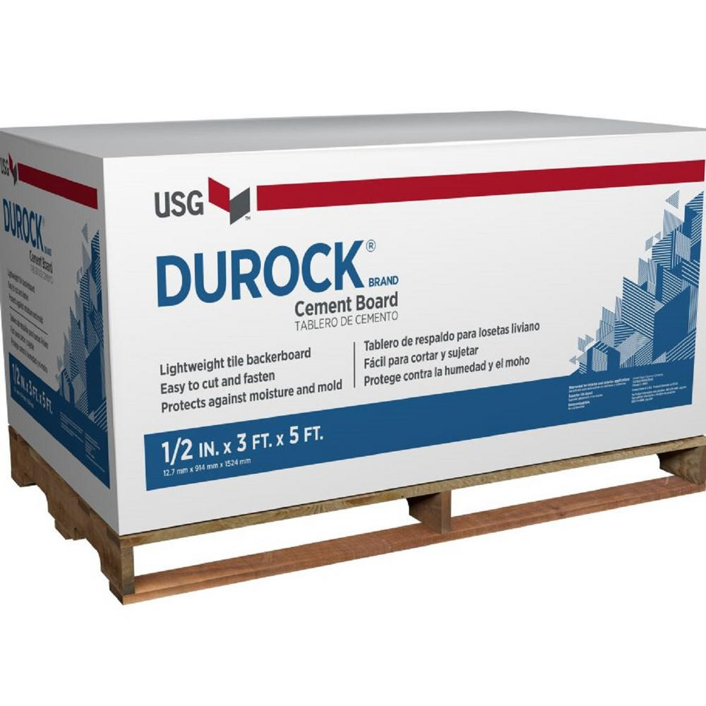 USG Durock Brand 58 In X 3 Ft X 5 Ft Cement Board 172967 The Home Depot