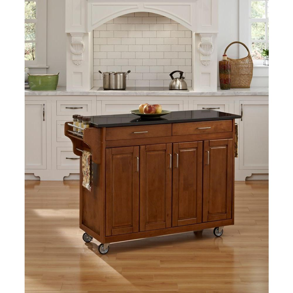 oak kitchen islands remodels ideas home styles create a cart warm with black granite top 9200 1064 the depot