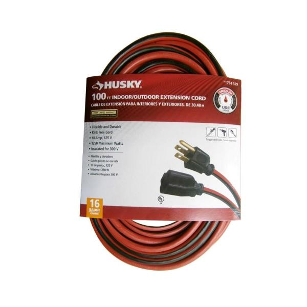 Husky 100 Ft. 16 3 Sjtw Extension Cord Red And Black-aw62669 - Home Depot