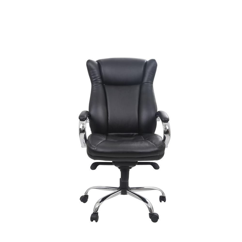 black leather office chair high back cover rentals baltimore md classic bonded executive with adjustable height of 12001 the home depot
