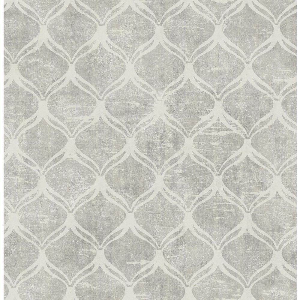 Chesapeake 56.4 sq. ft. Bowery Silver Ogee Wallpaper-3114