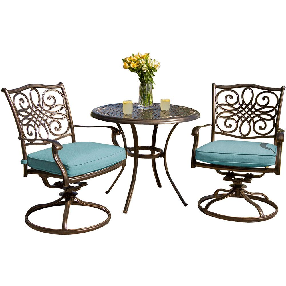 outdoor bistro table and chairs set alice in wonderland chair hanover traditions 3 piece with round cast top swivel