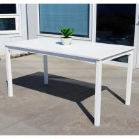 Vifah Bradley 59 in. x 32 in. White Acacia Patio Dining