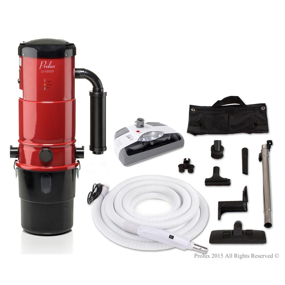 hight resolution of prolux cv12000 red central vacuum power unit with electric hose and power nozzle kit