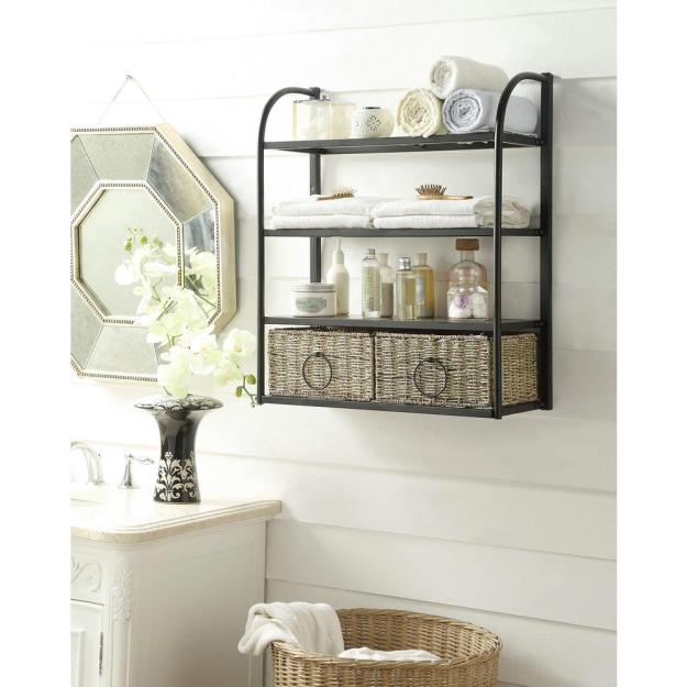 4d concepts windsor 24 in. w storage rack with two baskets in brown