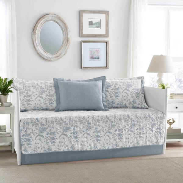 Laura Ashley Amberley 5-piece Blue Daybed Set-223920