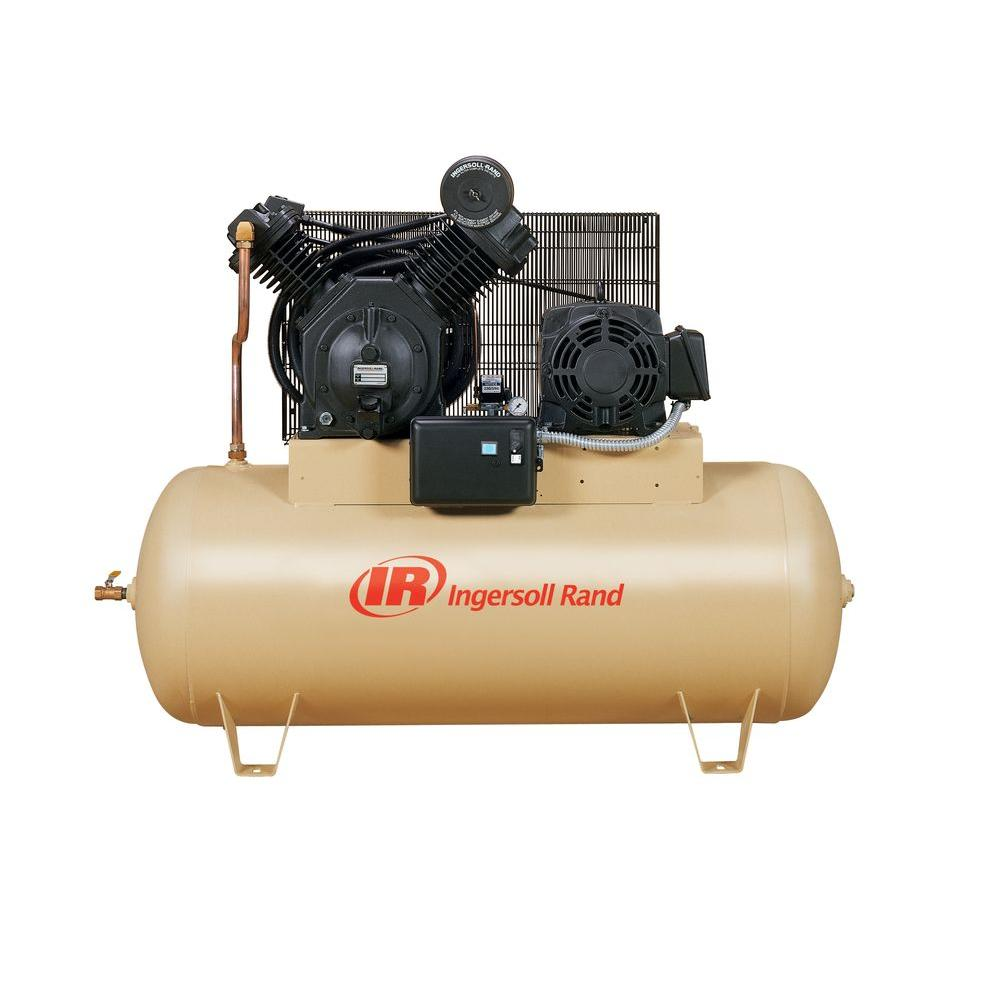 medium resolution of ingersoll rand type 30 reciprocating 120 gal 10 hp electric 200 volt 3 phase horizontal air compressor