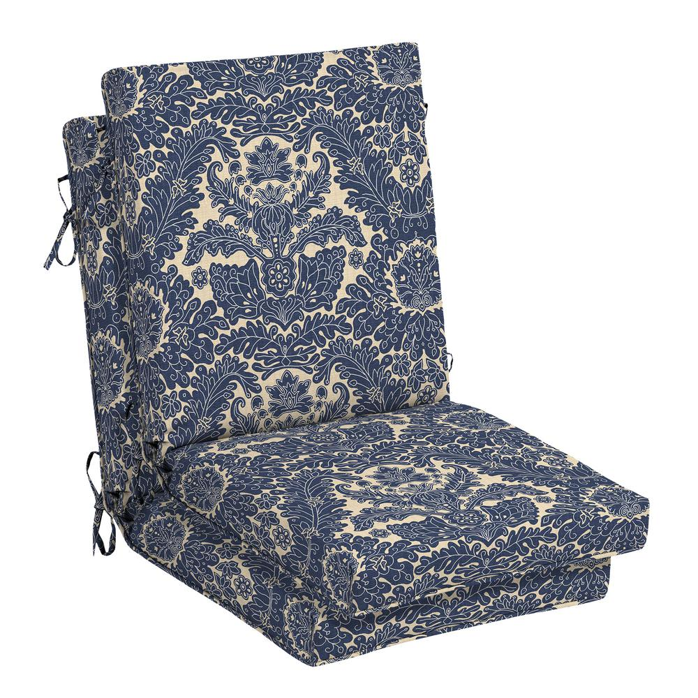 Damask Chair Hampton Bay Chelsea Damask Outdoor High Back Dining Chair Cushion 2 Pack