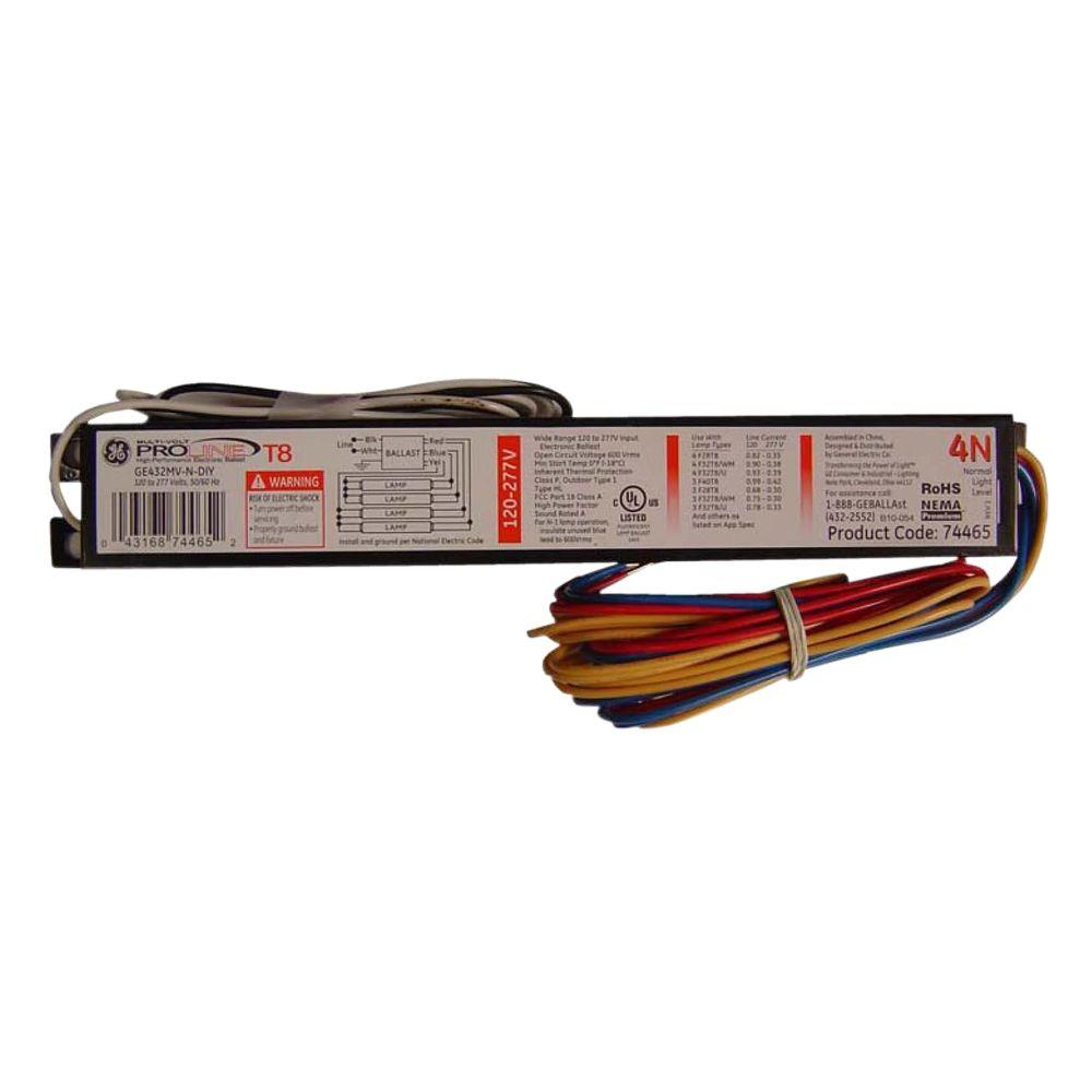 hight resolution of ge 120 to 277 volt electronic ballast for 4 ft 4 lamp t8 fixturege 120 to