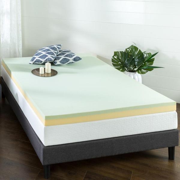 Zinus 4 In. Green Tea Queen Short Memory Foam Mattress Topper-hd-gtft-400sq - Home Depot
