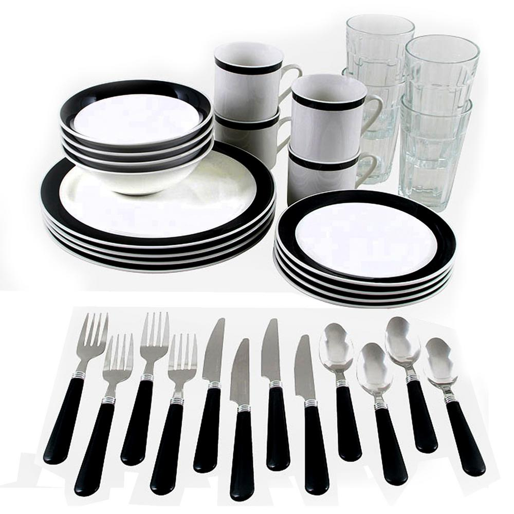 kitchen dish sets bench seating gibson home total essex 32 piece black and white combo dinnerware set
