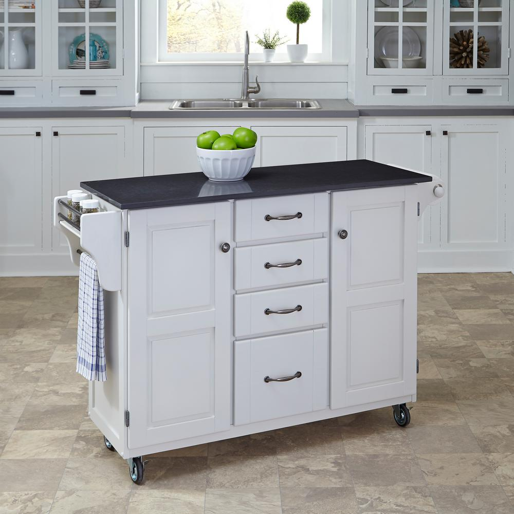 Home Styles CreateaCart White Kitchen Cart With Quartz