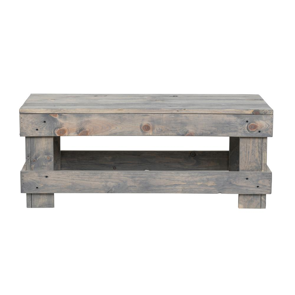 Del Hutson Designs Landmark 16 In Gray Pine Wood Coffee Table Dhd1261gr The Home Depot
