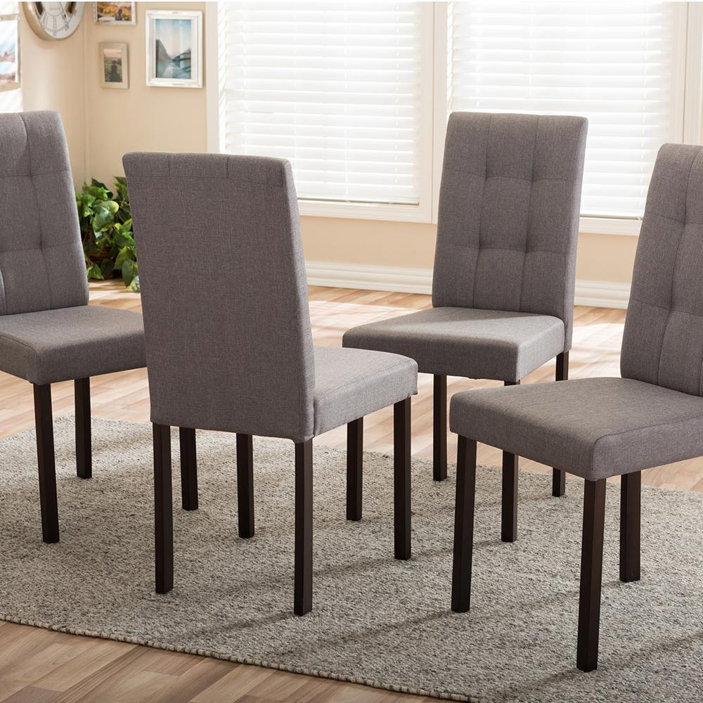 Dining Room Chairs Set Of 4 Andrew 9 Grids Gray Fabric Upholstered Dining Chairs Set Of 4