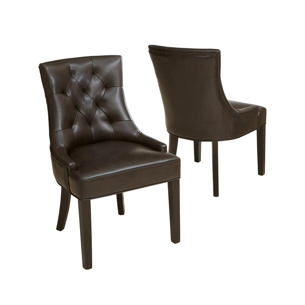 Noble House Hayden Brown Leather Tufted Dining Chairs Set