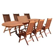 Vifah Eucalyptus 7-piece Patio Dining Set With Oval
