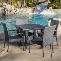 Noble House Delani Gray 5-piece Wicker Outdoor Dining Set