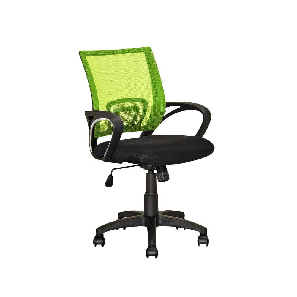 office chair mesh cheap plastic lawn chairs corliving workspace black and lime green back lof 312 o the home depot