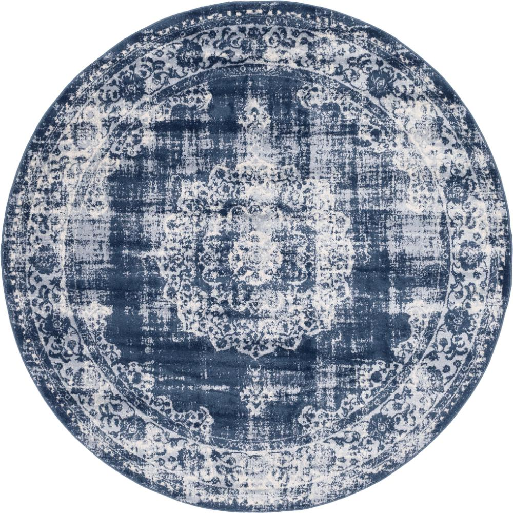 unique loom leila blackthorn navy blue 6 ft x 6 ft round rug 3144520 the home depot