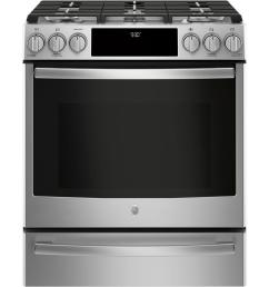 slide in smart gas range with self cleaning convection in stainless steel [ 1000 x 1000 Pixel ]
