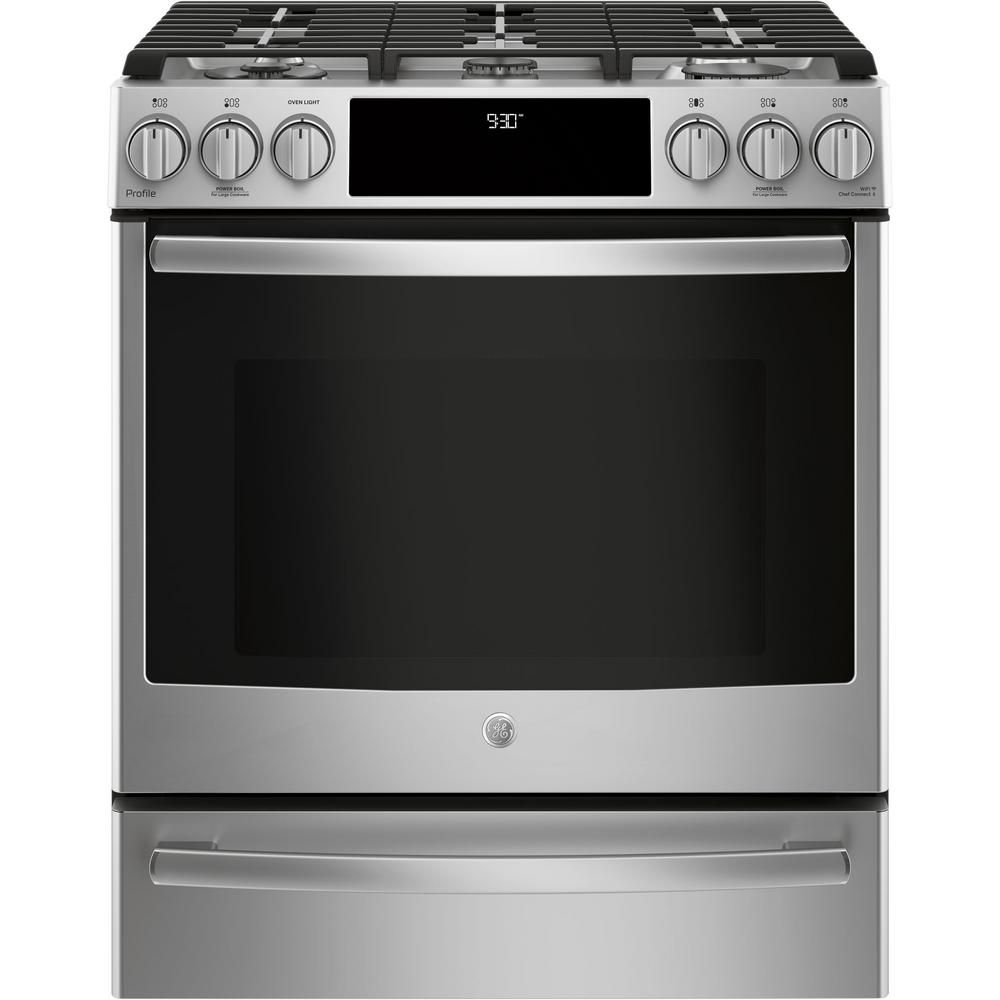 hight resolution of slide in smart gas range with self cleaning convection in stainless steel