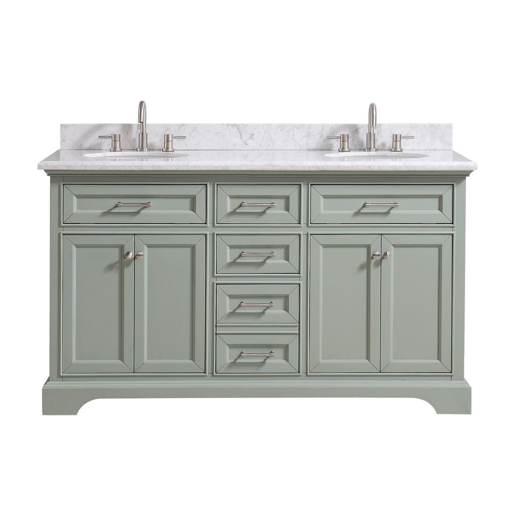 Home Decorators Collection Windlowe 61 in W x 22 in D x 35 in H Bath Vanity in Green with