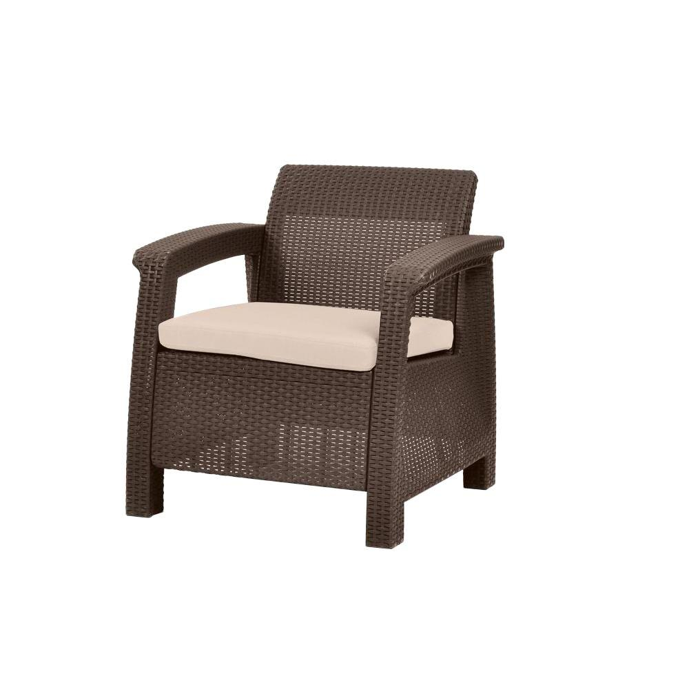 resin patio lounge chairs beach chair umbrella set keter corfu brown all weather armchair with tan cushions