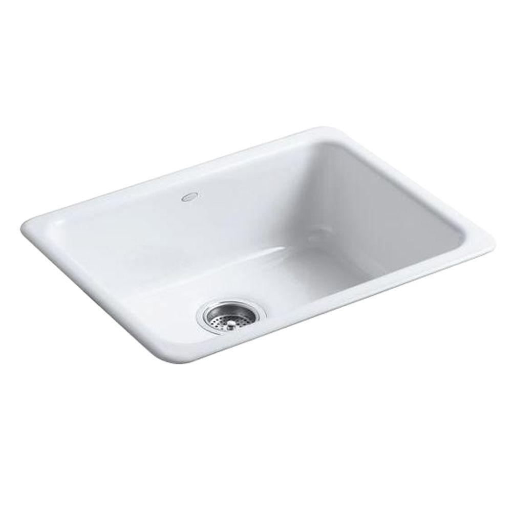 24 kitchen sink aid mixer covers kohler iron tones drop in undermount cast single basin white