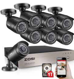 zosi 8 channel 720p 1tb dvr surveillance system with 8 wired bullet cameras [ 1000 x 1000 Pixel ]