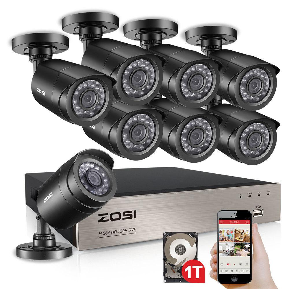 hight resolution of zosi 8 channel 720p 1tb dvr surveillance system with 8 wired bullet cameras