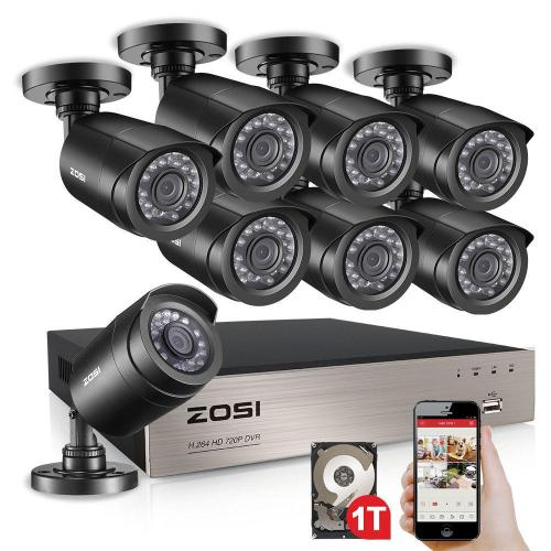 small resolution of zosi 8 channel 720p 1tb dvr surveillance system with 8 wired bullet cameras