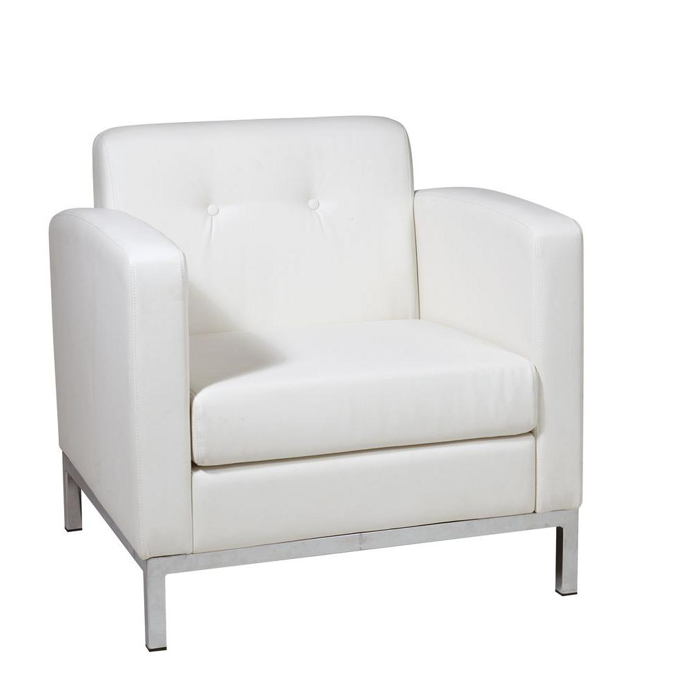 leather accent chairs for living room curtains uk brown the home depot wall street white faux arm chair