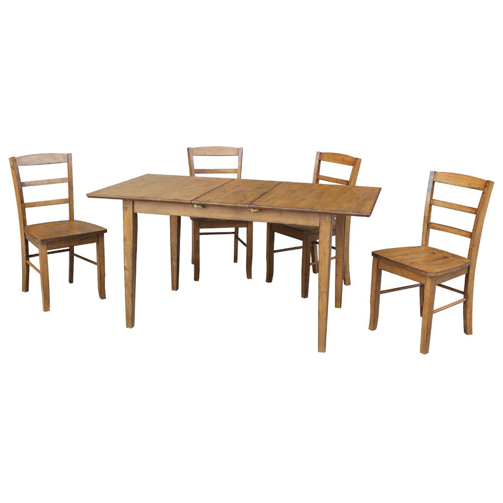 rubberwood butterfly table with 4 chairs fabric parsons international concepts leah 5 piece pecan dining set extension and madrid