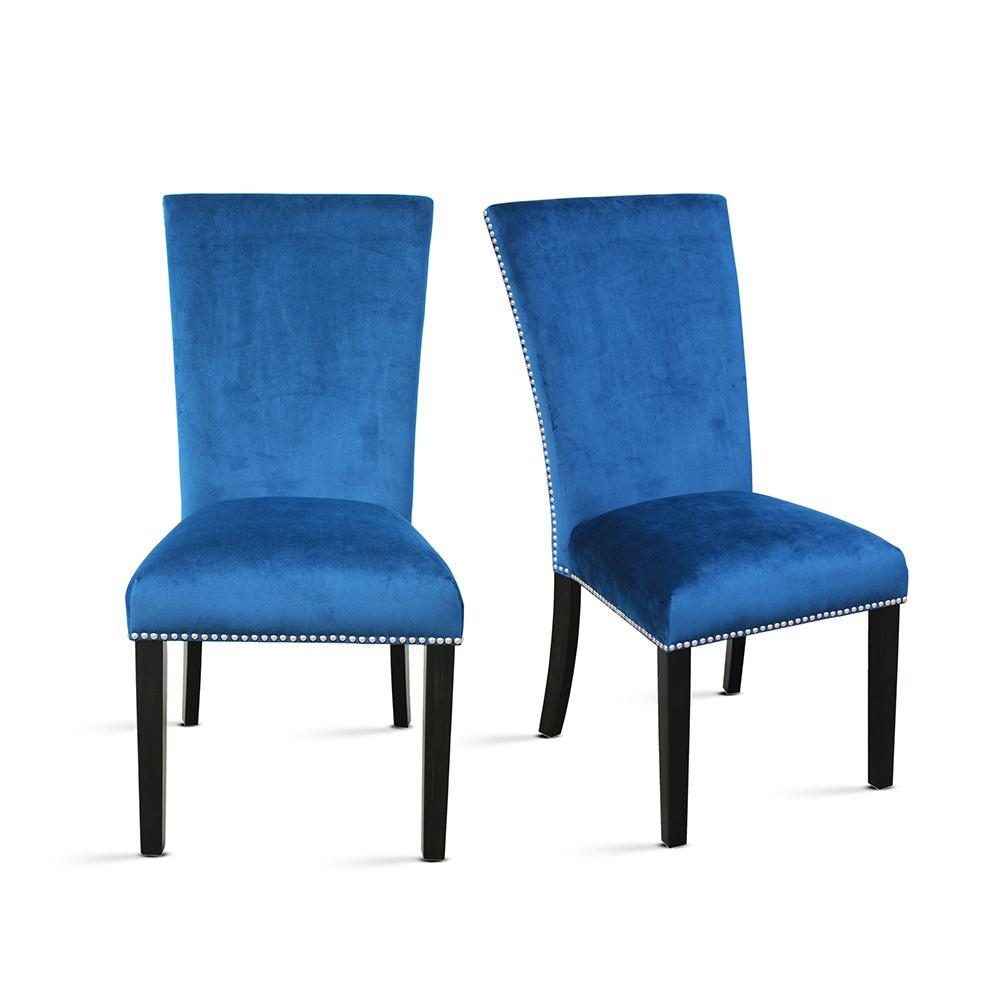 steve silver dining chairs chair rentals charlotte nc camila blue velvet set of 2 cm540sbn