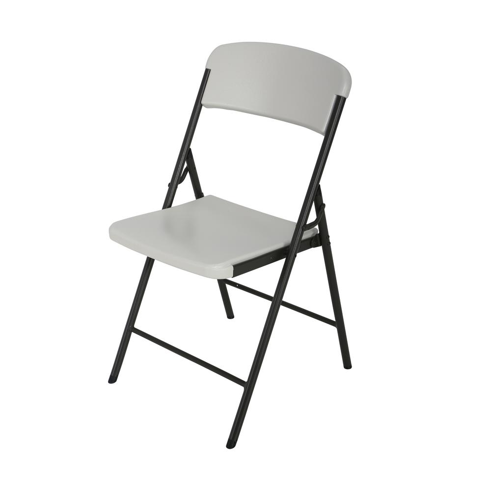 high folding chair power with tracks lifetime almond 80587 the home depot
