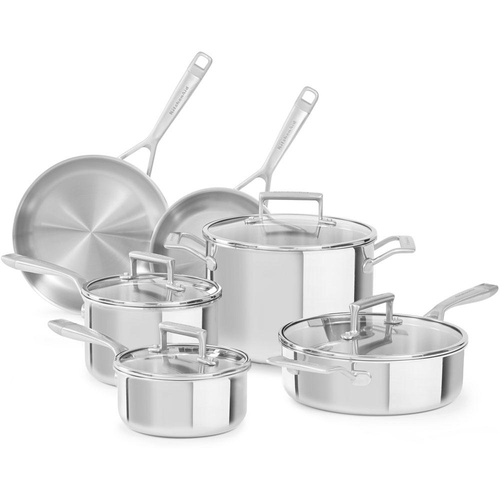 kitchen aid pans rugs for hardwood floors in kitchenaid 10 piece stainless steel cookware set with lids kc2ts10st the home depot