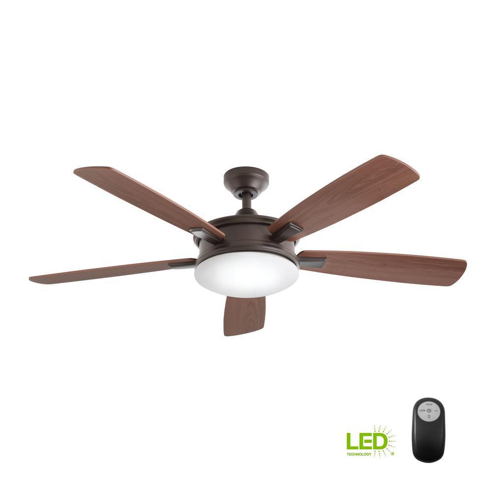 medium resolution of led indoor oiled rubbed bronze ceiling fan with