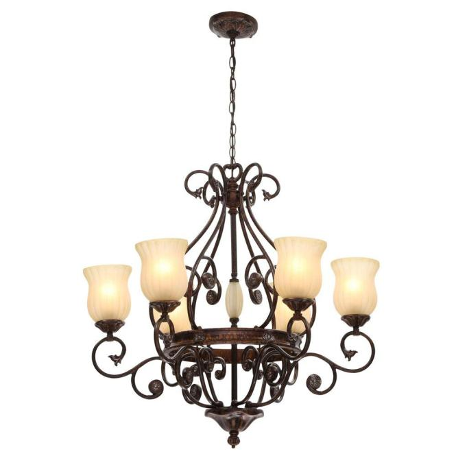 Hampton Bay Freemont Collection 6 Light Hanging Antique Bronze Chandelier With Glass Shades 13386 016 The Home Depot